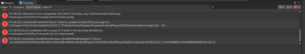 unityからAndroidスタジオ用にビルドしようとすると、まず「failed to update android sdk package list, see the console for ...