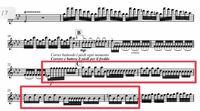 ヴィヴァルディ の冬のバイオリンソロパート譜についてです。 赤枠内がソロパートのはずなのですが、ハモリの下の方になっているようです。この部分の正しい音符と指番号をご教示頂けますでしょうか。  宜しくお...