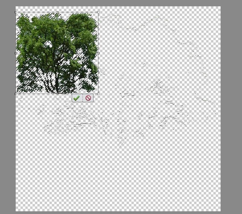 photoshopで木の画像をレイヤーに変換して大きさを変更しようとしたところ画像のように変形してしまいます。 形はそのままで大きさだけ変形できる方法を知っている方がいましたら教えてほしいです。