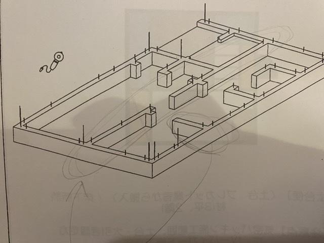 大工さんに質問です 基礎の墨出しについてなんですが 外周 おおがねは 基準済みが出てるから それを両端で弾けば 墨だせるのはわかりま した。でも 中通り? とか すこしでてる?基礎(風呂場などの...