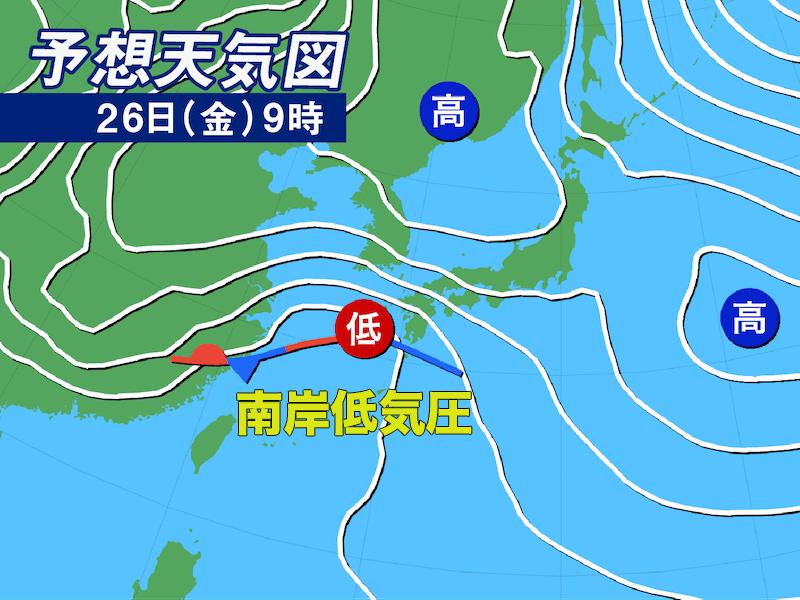 この予想天気図をよく見て、 関東平野部で九州よりも 南岸低気圧が「不発」傾向になる理由は? ここで、「平日だから降らない」は 投稿上不謹慎とする。
