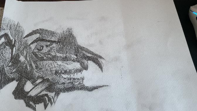 学校の美術で好きなものを描くという授業で描いたのですが、背景をどのようにすれば良いか困っているのでアドバイスを下さい‼️
