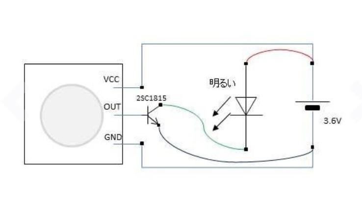 電子工作についてです。 アマゾンの人感センサーとダイソーのLEDライトでセンサーライトを作ろうとしています。 アマゾンのレビューをみて人感センサー、LEDライト、C1815トランジスタを接続した...