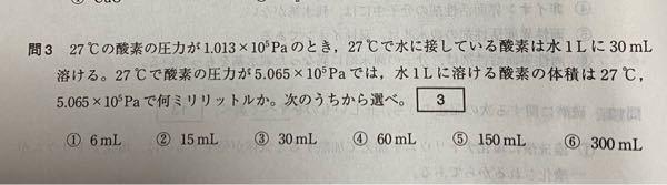 北里大2013年化学の問題なのですが、なぜ答えは⑤ではないのでしょうか?単純に圧力に比例するのだと思ったのですが、、 教えていただきたいです