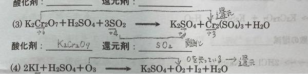 酸化剤と還元剤についてです。 それぞれの原子の酸化数が知りたいので ふってくださる方、よろしくお願いします。