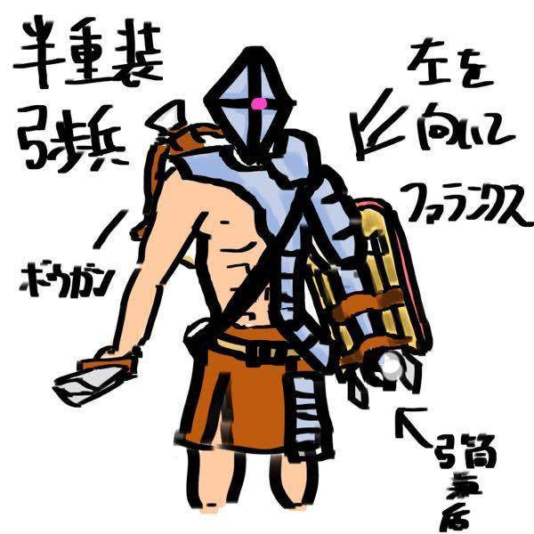 「左半身重装弓歩兵」 中距離や接近するまでボウガンで攻撃し、近距離では左半身を活かしてファランクス陣形で応戦します。 矢筒は盾と合併しており、使えるかは分かりませんが、先から矢尻が出ているので敵...