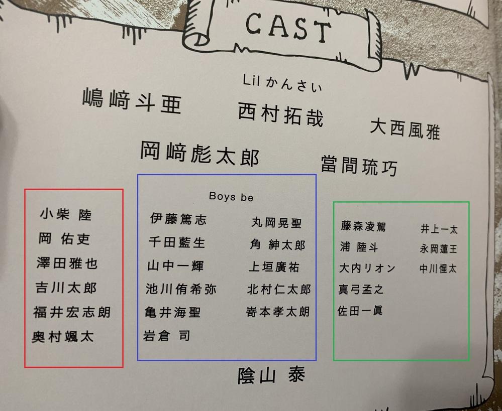 3月1日から大阪松竹座で、開演する、Lilかんさい主演のANOTHERのパンフレットの出演者の並びを見て気になったのですが、Boys beを真ん中にして、 マッタンと呼ばれる、6人組(赤枠で、囲...