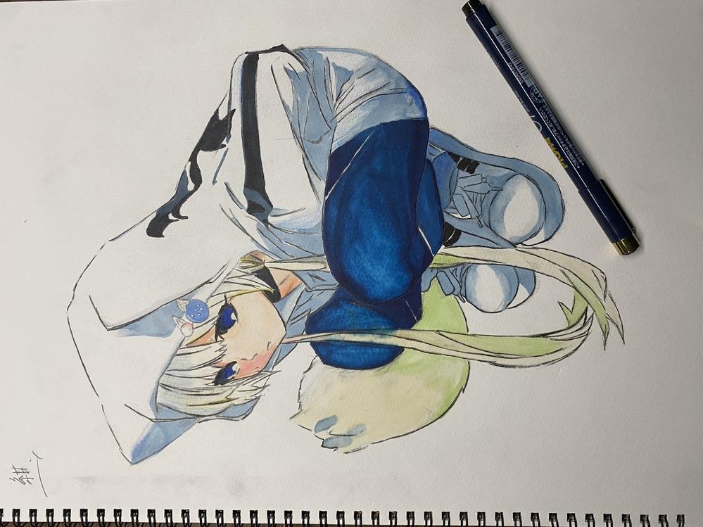 イラスト描きました。怪物事変の紺です! 評価下さい