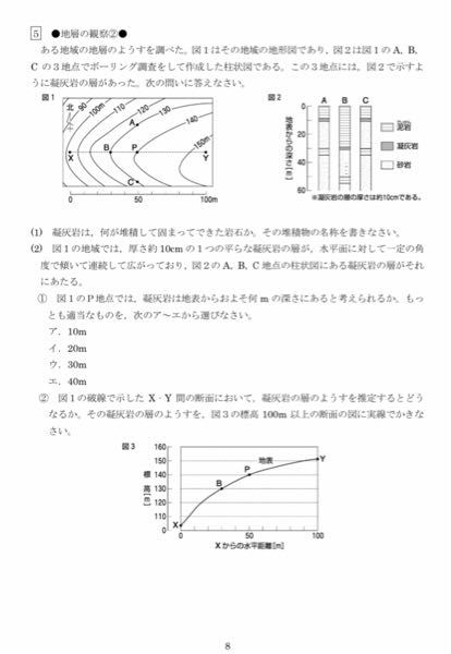 中学理科の問題です。 (2)の①がわからないです!!教えてください!!答えはイだそうです!