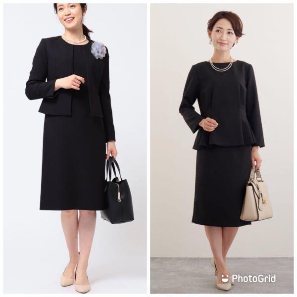 卒業式の服装について どちらの服装がいいと思いますか? 写真の右のスーツは持っているのですがジャケットがあるタイプに買い替えた方が良いでしょうか?