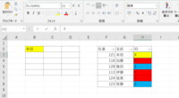 VBAで色を参照して反映させるコードを書きたいのですが、エラーが出てうまくいきません。どなたか助けていただけませんでしょうか? 希望としてはG列にある社員名がB2:D6のどこかに入力された時に H列の色を参照して、その入力されたセルにのみ反映させたいです。 例えばB2のセルに本田と入れたらH列の色を参照して B2セルのみ黄色になるという風にしたいです。  下記のコードだとエラーが出てしまいま...
