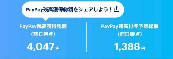 先日初めてPayPayを使ったのですがヤフーショッピングで購入した際にポイントを4000円分(PayPay残高獲得総額の部分)をもらったのですがボーナス獲得カレンダーには表記されてなくて、残高の方にも反映されていませ ん。 この4000円分はいつ反映されるのでしょうか?