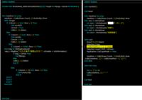 Excel 2013 VBAについて (VBA素人です) ある処理を行うためにコードの頭とケツにシート保護と保護解除を入れて実行すると、保護&保護解除のコードを入れる前と後で動作が変わってしまいます。  (画像右側のconADDのみ動作させるとうまくいくので恐らく左側のダブルクリック時の処理に問題がありそう?)  解決方法等アドバイスいただけると幸いです。 よろしくお願いします。