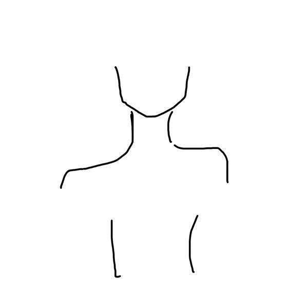 身体がこの絵のように歪んで左右非対称です。右は骨格ウェーブ気味で左が骨格ナチュラル気味です。左右対称にしたいので治し方を教えて欲しいです。