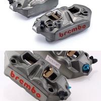 バイク ブレンボキャリパー  写真のブレンボって同じものですか? 穴の位置が違ったりしてるんですが。 ブレンボのM4(34/34)ってモデルかなと思っていますが、片方があうような車体ならもう片方も取り付けはできますか?