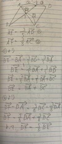 [問]平行四辺形ABCDにおいて、辺ADを3:2に内分する点をE、対角線ACを3:5に内分する点をFとすると、 → →  BF=?BE  いつも下の写真のように解くのですが、時間がかかってしまいます。もう少し工夫して解く方法は...