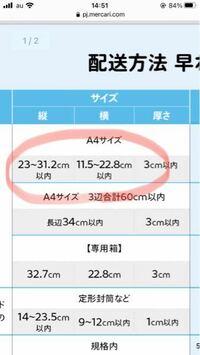 らくらくメルカリ便のサイズはA4または赤丸のサイズならいいんですか?
