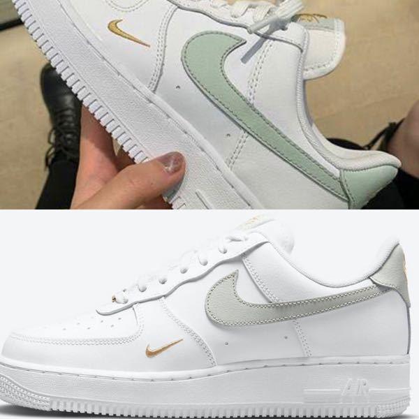 今日ABCマートに行った時、エアフォースワン(Airforce1)のエッセンシャルで欲しいがあったのですが、実際見た色は緑っぽい色でした。下の写真の上と下の色だと緑とグレーに見えるのですが、同じ...