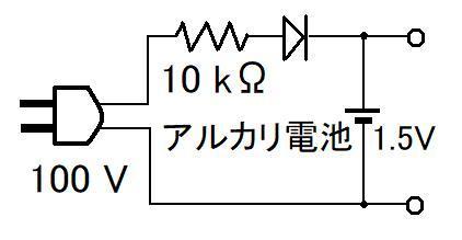 アルカリ乾電池は充電しないように、 注意書きが記載されています。 でも、液漏れその他を無視した話ですが、 充電すれば、いくらかエネルギーが回復するようです。 例えば単一電池に、5mA程度...