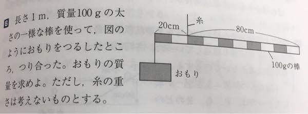 この重りの問題の解説をお願いします。 式的にはx•20+20•10=80•40らしいのですがこの式になる理由が分かりません。