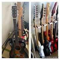 ギタースタンドについて! 現在、画像の左のようなギタースタンドを使っているのですが、ギターを斜めに置くためスペースを取ってしまいます。 お恥ずかしながら狭い部屋なので、スペースをあまり取りたくなく、画像右側の真っ直ぐ縦に収納できるスタンドに変えようかと思っているのですが、他にもギターがあるため、10本ほど置ける、ギターが真っ直ぐ立てかけられるおすすめのスタンドはありますでしょうか?  またギ...