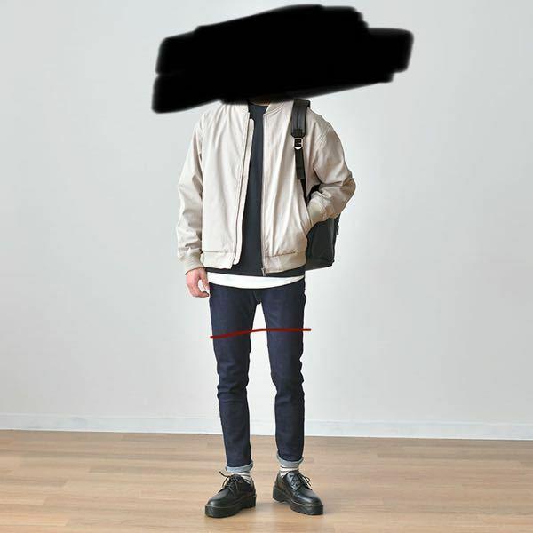 脚が短いせいでどんな服着てもちんちくりんに見えます。 短いのがわかりにくいぶかっとしたりズボンを履いてもお尻の位置はバレますし股下が短いのにそこにまた アンクルパンツ?みたいなズボンを履いたらわけわから なくなります。 スキニーも履きたいですがお尻の位置はバレますし 股下が短いからバレる。 色々と工夫しても何も変わりません。 どうすればいいですか? 俺がこの人と同じ服を着れば赤い線くらいが...
