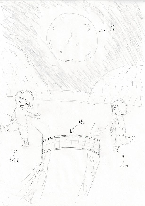 昔見たイラストの詳細が知りたいです! ショタ画像スレか、ノスタルジックな画像スレのいずれかで見ました。 NOEYEBROWさんの絵柄と近かった記憶があります。 見たのは7年前くらいです。 構図のイメージを下に載せておきます。 夜で、大きな月の下に、男の子2人が橋を隔てて歩いているイラストでした。