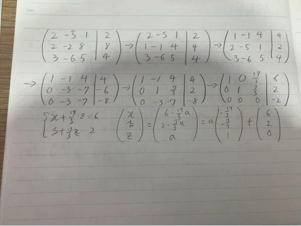 連立方程式を拡大係数行列で計算して3行目が000-2の場合(解の部分だけ整数で同じ行は全て0)解なしでいいですか?