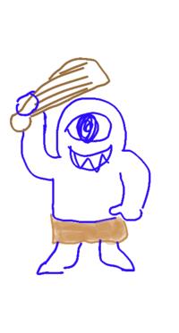 キャラクターが思い出せないです!!!! 多分ドラクエか何かの敵キャラなんですが…… 分かる範囲で描いてみました。絵が下手ですみません(_ _) 鈍器持ってます!!