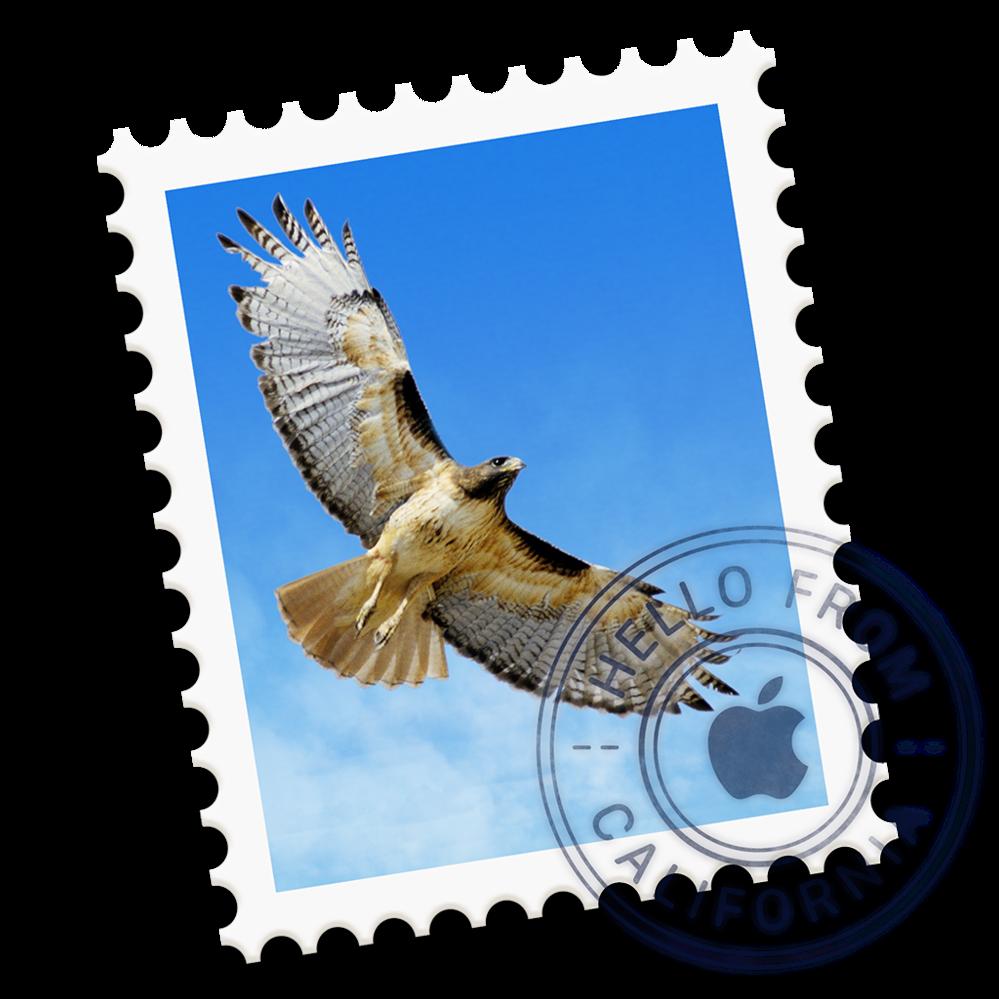 Macのメールアプリに使われているアイコンの、猛禽類の名前を教えて下さい。 以下の画像の鳥です。 回答よろしくお願いいします。