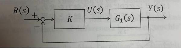 制御工学の問題で、分からない問題があります。 次の微分方程式で記述される制御系について ●微分方程式 y'(t)+y(t)=u(t)、u(t)=K{r(t)-y(t)} (1)制御系を図のブロック図で記述する時、G1(s)と閉ループ系の伝達関数G(s)=Y(s)/R(s)を求めて下さい。 (2)閉ループ系の単位ステップ応答と、K=5の時の定常偏差を求めて下さい。