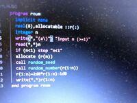 このプログラムを打ったところ、5行目で、 FORTRAN、プログラミングの質問です。 unexpected element '\' in format string at (1) とでてエラーになりました?なぜですか?