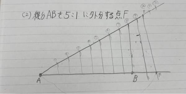 数学A 外分点の作図の問題です 自分は模範解答とは違うやり方でやったのですが合っているでしょうか? ちなみにFがABを5:1に外分する点で、自分は目盛りを10個作り、AF:BF=10:2=5:1 と考えました。