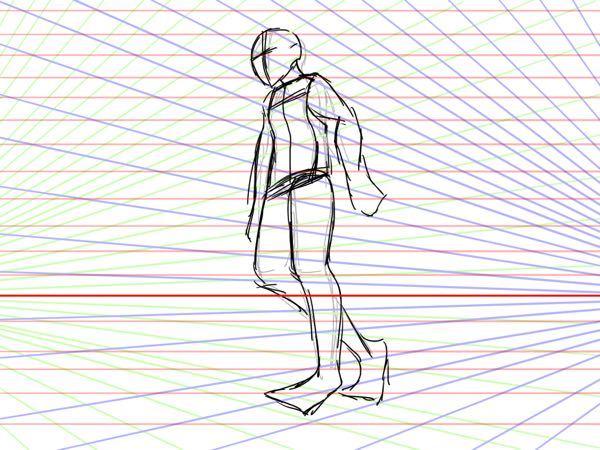 パース線の使い方?がわかりません! キャラクターを描いて、パース線を描いて、キャラクターを調整しようと思ったのですが、どういう状態ならいいのかが全くわかりません! パース線にうまく合わせて描くにはどうしたらいいんですか?
