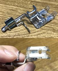 このミシンの押さえはどういう用途のものでしょうか? ヤフオクでいろいろなパーツをひとまとめで買ったら入っていました。 これ以外のパーツは、殆どがブラザーのペースセッター用と思われます。  押さえの後ろ...