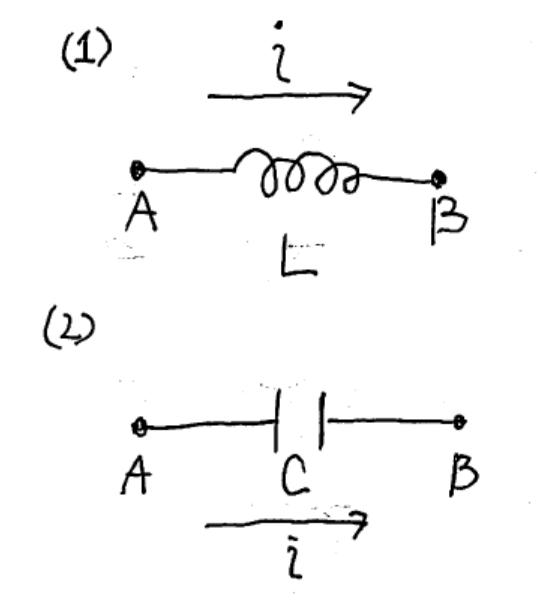 コイル/キャパシタの両端の電位差について: 添付図(1)では節点 A,Bの間にコイルが、 添付図(2)では節点 A,Bの間にキャパシタがあります。 いずれの場合でも節点 A Bの間に流れる電流をi[A]で表します。 (電流の方向はAからBに向かう方向を正とします 添付図(1),(2)の場合で、節点Bの電位VBと節点Aの電位VAの差 VBA[V]:=VB[V]-VA[V]はどうなりますか?