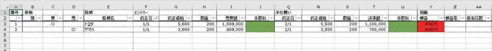 """エクセルの計算式を教えてください! 困っていました。 ① 損益計算 画像の赤色のセルです。 「エントリー」と「手仕舞い」から、いくら利益(または損失)が発生したのか計算して表示させたいです。 「エントリー」は、買い(ロング)の場合と売り(ショート)の場合があります。 また、まだ手仕舞いしていない場合は、空欄か「-」と表示させたいです。 =IF(H4=""""*買"""",(V4-K4..."""