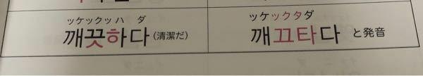 韓国語の勉強をしている者です。 あるテキストに激音化の(例)としてこれが載っていたのですが、ㅅ+ㅎでㅌになるのは何故ですか? 激音化の説明では『ㄱㄷㅈㅂ+ㅎ の場合それぞれㅋㅌㅍㅊと発音する』としか書かれていないのでㅅはどこから出てきたのかが気になります。