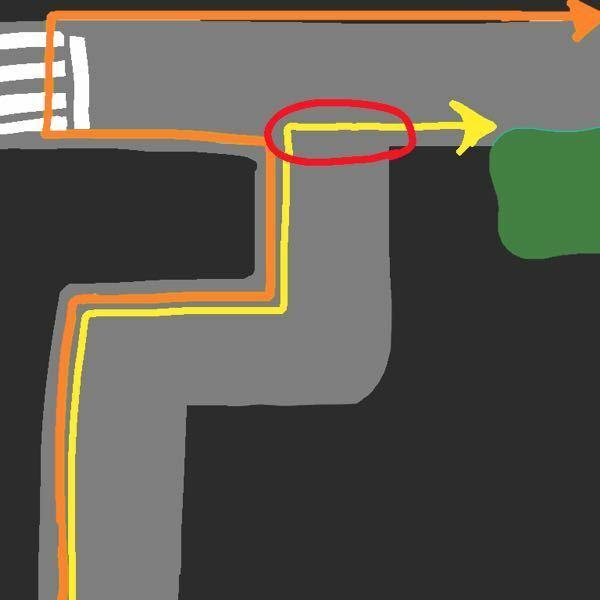 このような道路の場合、歩行者は横断歩道がない所を横断してもいいのでしょうか? 緑が目的地で、 黄色が横断歩道のない道を進んだ線、 オレンジが横断歩道を進んだ道です。 オレンジの方が遠回りになってしまいますが、 この場合黄色のように横断するのはいけませんか?