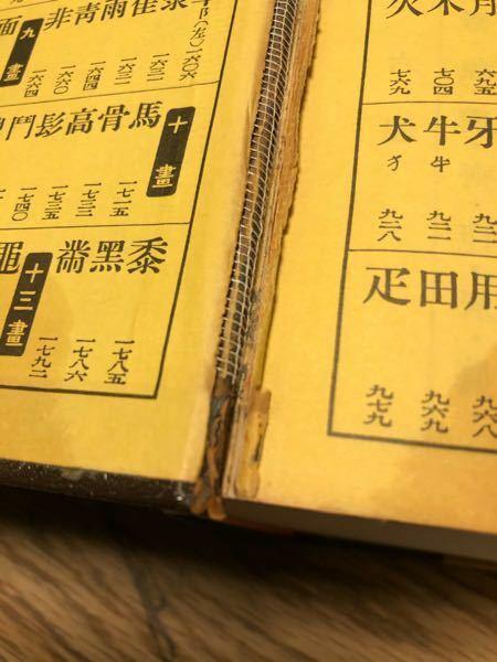 この破れた辞書の隙間から見える網の部分の名前を教えてください。昔からある製本の補強材だと思います。