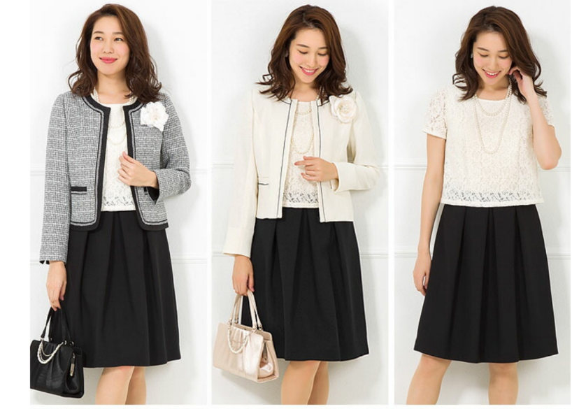 セレモニースーツについて。 ちゃんとした服を持っていないので買おうと思うのですがご意見聞かせてください。 たとえばこの画像のセットを買ったとして 左のワンピース+グレージャケットを七五三と卒園式卒業式 真ん中のワンピース+白ジャケットを入園式入学式 に着るのはどう思いますか? 卒園式は黒やネイビーのほうがいいでしょうか? この他に ワンピース+黒のジャケットとワンピース+グレーのジャケットというセットもあるんですが、 ワンピース+黒のジャケットを七五三と卒園式 ワンピース+グレーのジャケットを入園式、というのもありだと思いますか? また、七五三・入園式・卒園式それぞれこわな格好がいいですよ、などありましたら教えて下さい。 ちなみに、黒のパンプス、ベージュのバッグを合わせるつもりですがこちらももっと違う色の方がいいなどありましたら言ってください。 よろしくお願いします。