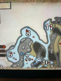 モンハンライズで、マップ上にある赤いカニ?のようなアイコンと、青いアイコンが何なのか教えてください