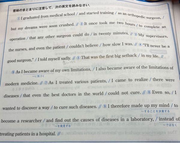 Q.現在医療の限界(the imitations of modern medicine)とは何ですか。 ヒント・後に続く文(as i treatibg 、、、)の内容を考える コイン差し上げます