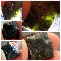 拾った石について質問させていただきます。 河原近くの原っぱで拾いました。 見た目は真っ黒で、ツヤがあり、光を当てると緑色に透けて見えます。透けない部分もあります。  サイズは1.5センチほど。臭いは特に...