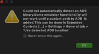 Androidstudioについての質問です。 m1preview版のAndroid emulatorを使っているのですが、画像のようなエラーが出てemultorが検出されません。adbのパスも通しました。一体何がいけないのでしょうか。