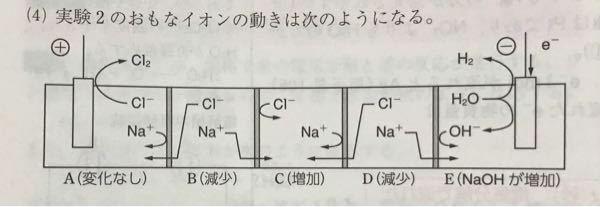 化学重要問題集の質問です。 下の画像は「A〜E室に塩化ナトリウム水溶液が分かれて入れられており、 ABの間、CDの間は陰イオン交換膜、 BCの間、DEの間は陽イオン交換膜であり、 そしてここから電気分解すると各部屋の塩化ナトリウムの濃度はどうなるか」という問題の解答です。 模範解答は、Bは減少、Cは増加、Dは減少です。 解答がどうしても理解出来ません。 BCの間の膜でNa⁺がB室からC室へ...