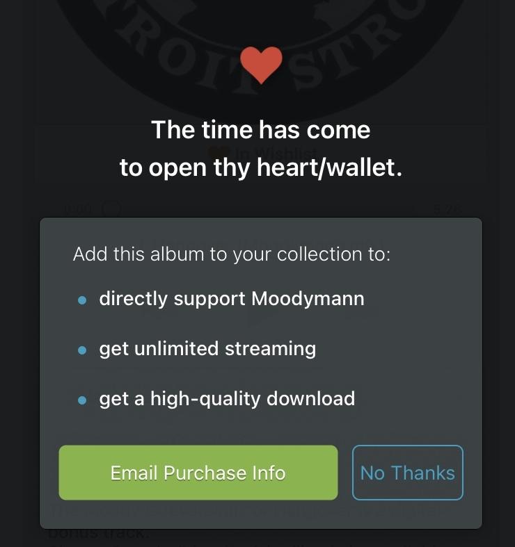 bandcampというアプリで買わずに何回か聴くと画像の画面になり、『no thanks』を押すとまた聴けます。 これって『買わなくても聴けるなら買う意味ないじゃん』と思っちゃうんですが、買わないとできないことがあるんでしょうか?また、楽曲によっては聴けなくなったりするんでしょうか? お手数おかけ致しますが何卒宜しくお願い致します。