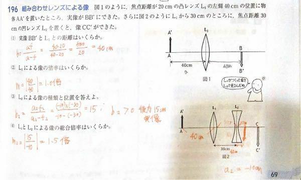 物理の組み合わせレンズの問題について質問です。 a2がなぜ-10になるのかわかりません。解説お願いします。