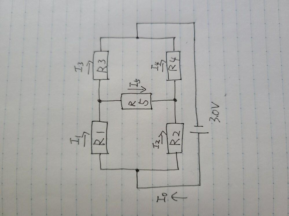 R1,R4,R5は1kΩ R2は4.7kΩ R3は1.5kΩ の時キルヒホッフの法則を使って全ての電流を求める方法を教えてください。よろしくお願いします。
