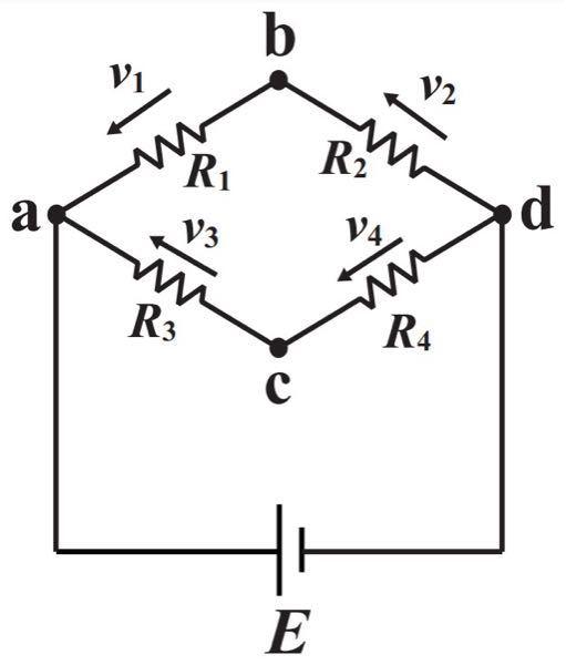 この電気回路の問題を教えてください。 画像の回路はホイートストーンブリッジと呼ばれる、直列抵抗と並列抵抗を組み合わせた回路である。 この回路でb点とc点の電位が等しくなるためにはどのような条件が必要か。尚、直流電圧源の内部抵抗は無視してよい。